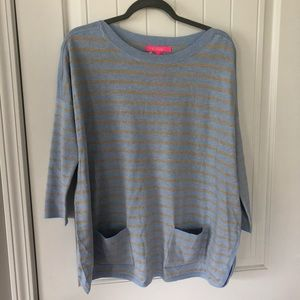 NWT Lilly Pulitzer blue and gold striped sweater